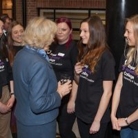 HRH Duchess of Cornwall meeting young female student vets