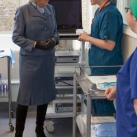 HRH Duchess of Cornwall talking to a veterinary nurse