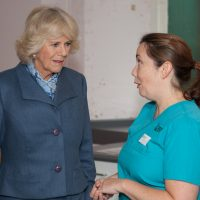 HRH Duchess of Cornwall talking to a member of staff
