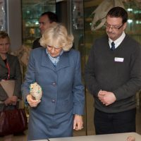 HRH Duchess of Cornwall examining a preserved piece of anatomy used for teaching