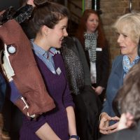 HRH Duchess of Cornwall talking to a student
