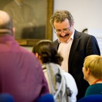 Sir Robert Winston talking to students