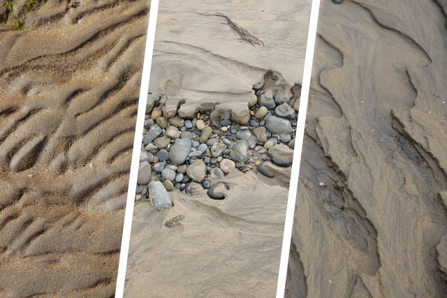 Composite of three different sand backgrounds