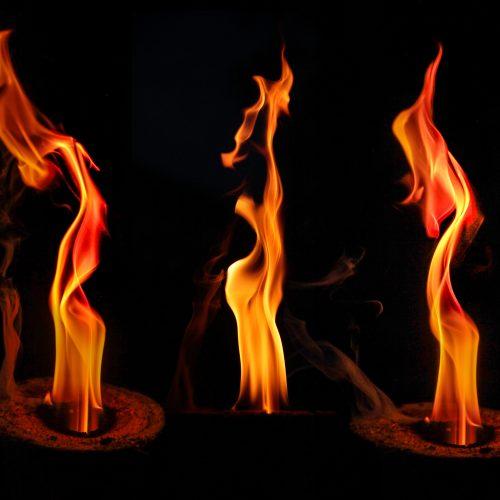 Detail of three natural flames