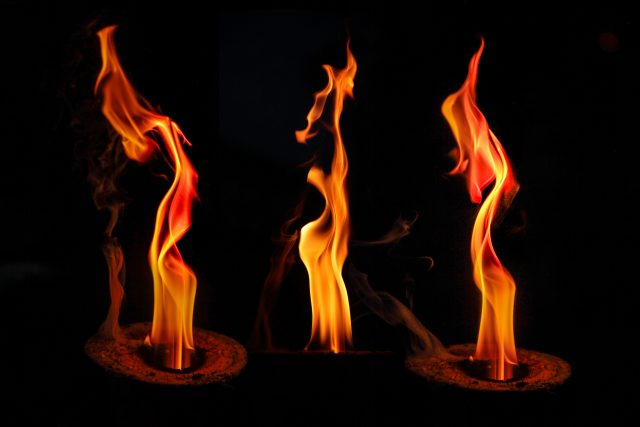 Detail of three natural flames