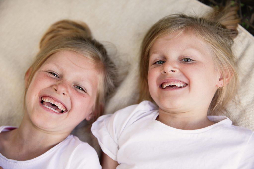 Portrait of identical twins girls